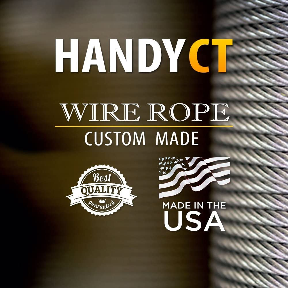 Galvanized Vinyl-Coated Wire Rope with plain loop on both side 3//16in Thick 2ft Bike Bicycle Motorcycle Plastic Cover Safety Cable