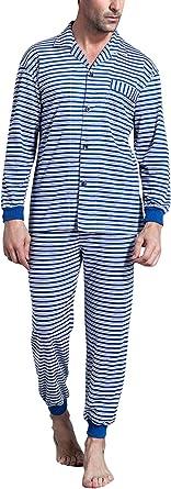 Dolamen Pijamas para Hombre Algodón, Hombre Pantalones de Pijama Largos Primavera Suave y Suave, Hombre Camisones Pijamas de Parejas, Collar con ...