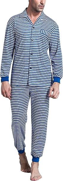 Dolamen Pijamas para Hombre Algodón, Hombre Pantalones de Pijama Largos Primavera Suave y Suave, Hombre Camisones Pijamas de Parejas, Collar con Bolsillo con Botones: Amazon.es: Ropa y accesorios