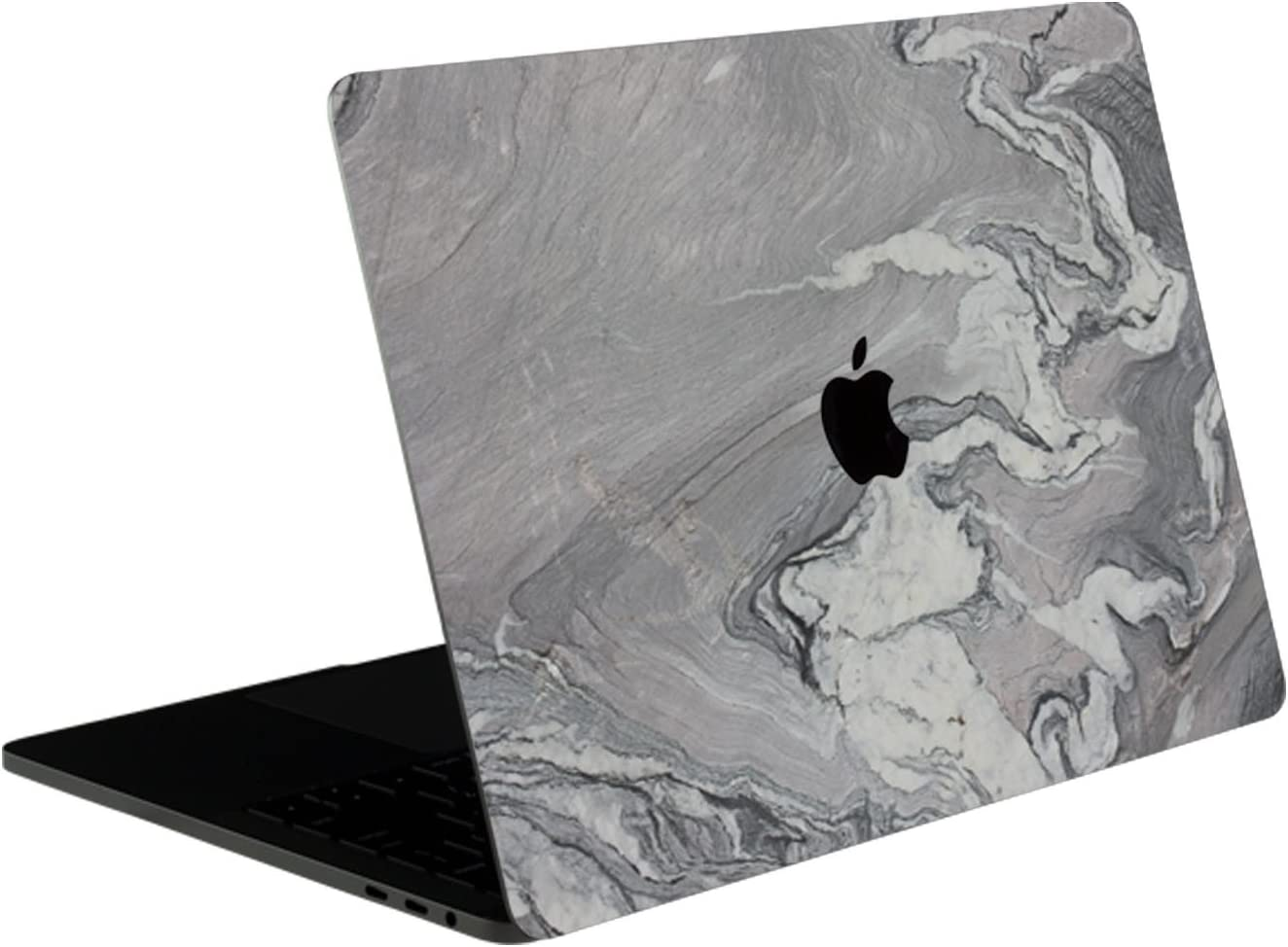 SOJITEK Silver Gray Marble Stone Texture 4-in-1, Full-Size 360° Protector Skin Decals Sticker MacBook Pro 15 Inch (2016 to 2019 Model with & w/o Touch Bar & ID) A1707 A1900 Black Keyboard Cover