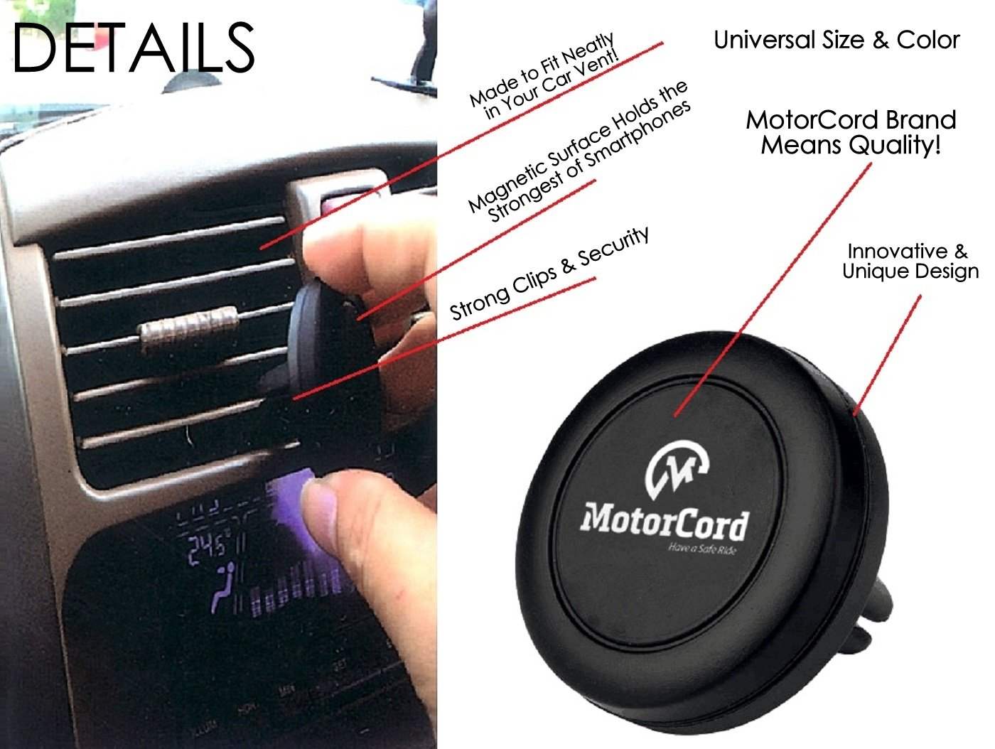 720043143273 MotorCord Car Mount Magnet One-Touch Air Vent Phone Holder Universal Magnetic Cell Phone Holder Air Vent Magnetic Car Mount Phone Holder,Ultra-Compact Car Mount for Smartphones /& Mini Tablets Black