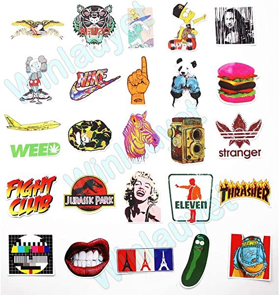 Winlauyet 100x Sticker Aufkleber Für Skateboard Snowboard Koffer Notebook Auto Kühlschrankaufkleber Kofferraum Stickerbomb Sticker Design B Auto