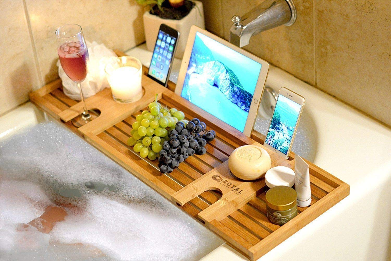 Viet Hand Natural Bamboo Bathtub Tray Bath Serving Tray for 2