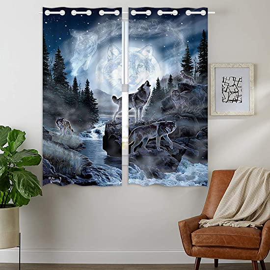 HommomH 42 x 63 inch Curtains 2 Panel Grommet Top Darkening Blackout Room Moon Wolf