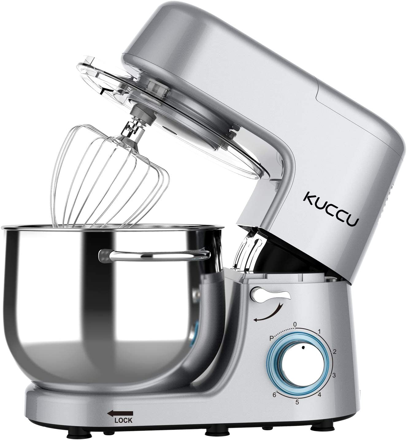 Stand Mixer,Kuccu 660W 6 Speeds Tilt-Head Food Dough Mixer with 8 Qt Stainless Steel Bowl, Electric Kitchen Mixer with Dough Hook and Flat Beater, Wire Whisk (8-QT, Silver)