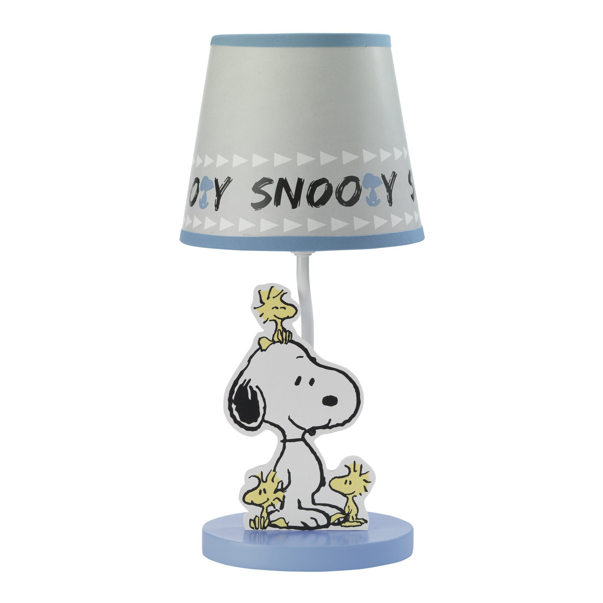 Bedtime Originals Peanuts Forever Snoopy Lamp with Shade & Bulb, Blue/Gray