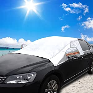 Audew Windshield Auto Cover Sun Shade Protector Snow Cover Winter Protects Windshield, Wipers, and Mirrors Weatherproof, Anti-fouling XL: 104x102x53''