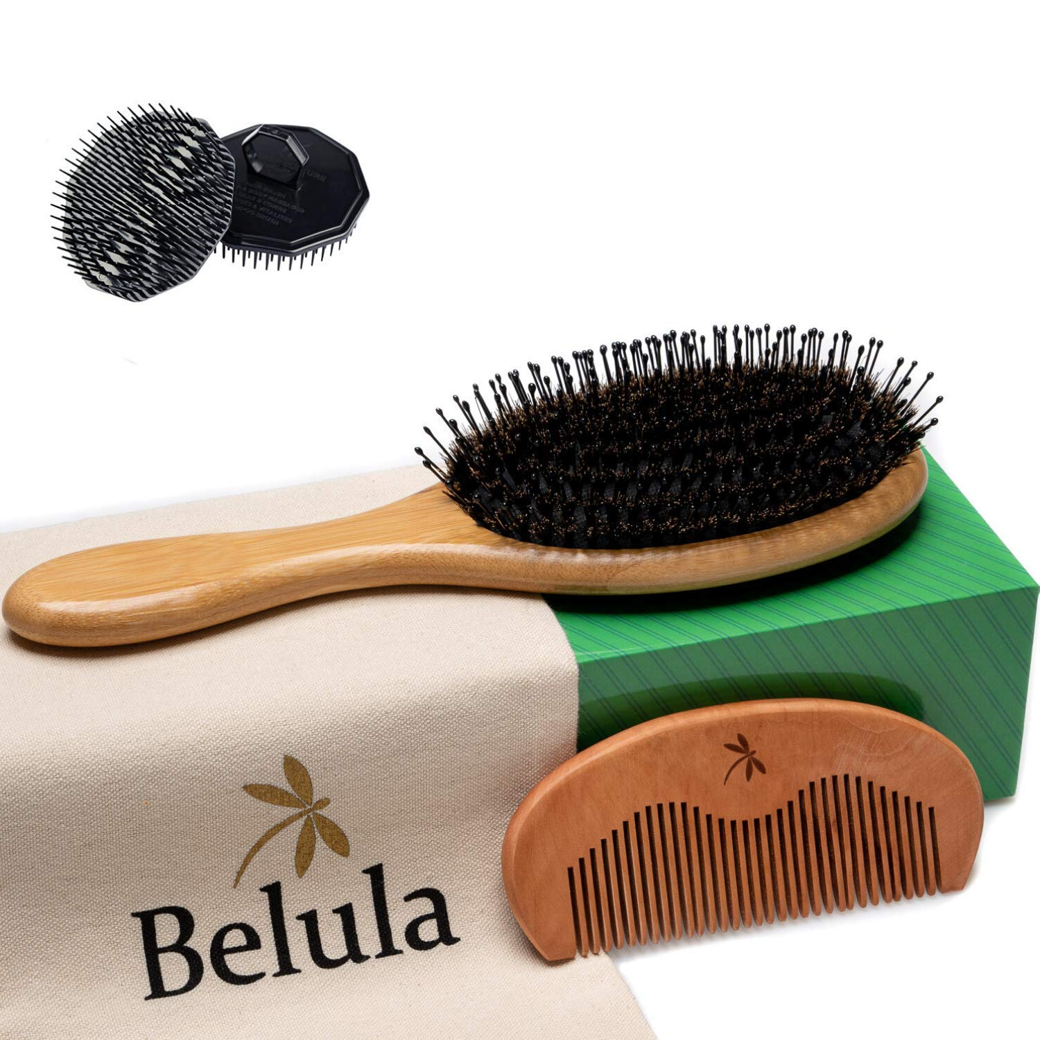 Premium Boar Bristle Hair Brush for Men Set.Styling Mens' Hair Brush with Nylon Pins. Boar Bristle Brush, 2 x Palm Brush, Wooden Comb & Travel Bag Included.