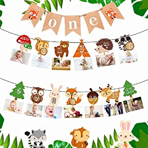LaVenty Set of 2 Woodland First Year Photo Banner Wild One First Birthday Party Decoration Forest Animal 12 Month Banner Woodland Animal Party Woodland 1st Birthday Banner