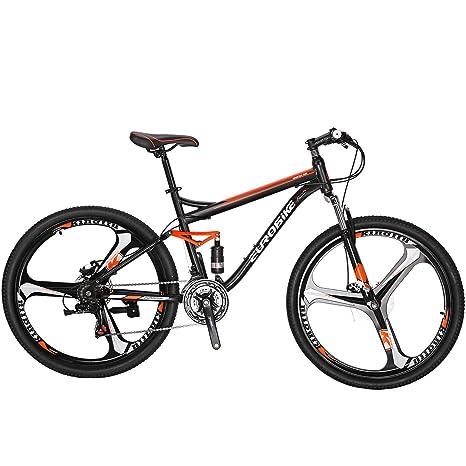 Eurobike Bicicleta de montaña con suspensión Completa de 21 ...