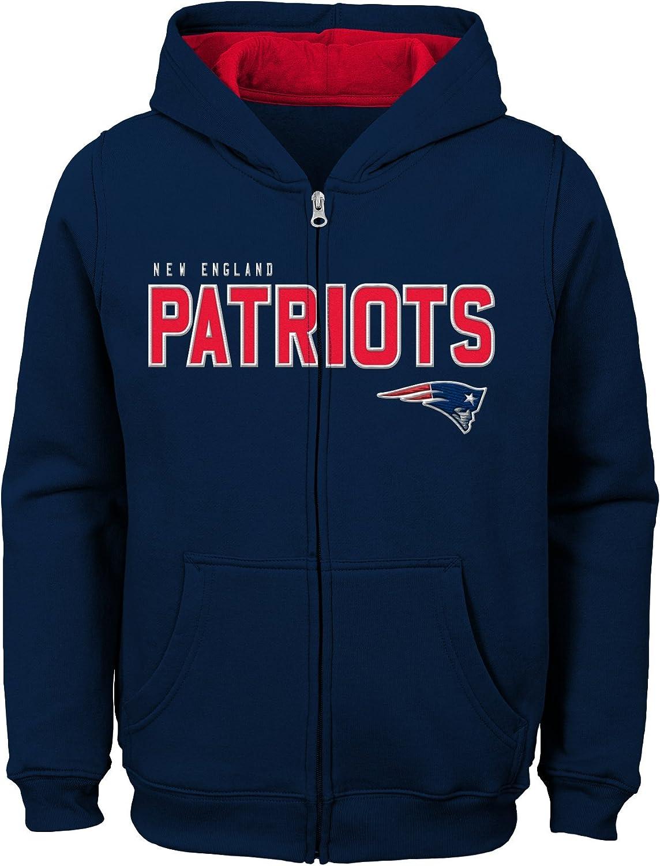 Youth Medium NFL New England Patriots   Kids /& Youth Boys Stated Full Zip Fleece Hoodie Dark Navy 10-12