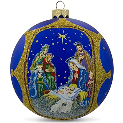 4 the nativity gathering glass ball christmas ornament
