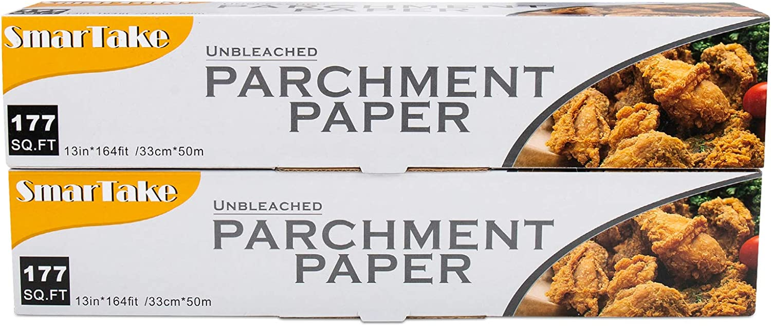 SMARTAKE Parchment Paper, 2 Boxes of 13 in × 164 ft (354 Sq. Ft Total) Non-Stick Baking Parchment Roll, Baking Pan Liner for Kitchen, Air Fryer, Steamer, Cooking Bread, Cookies and More, Unbleached