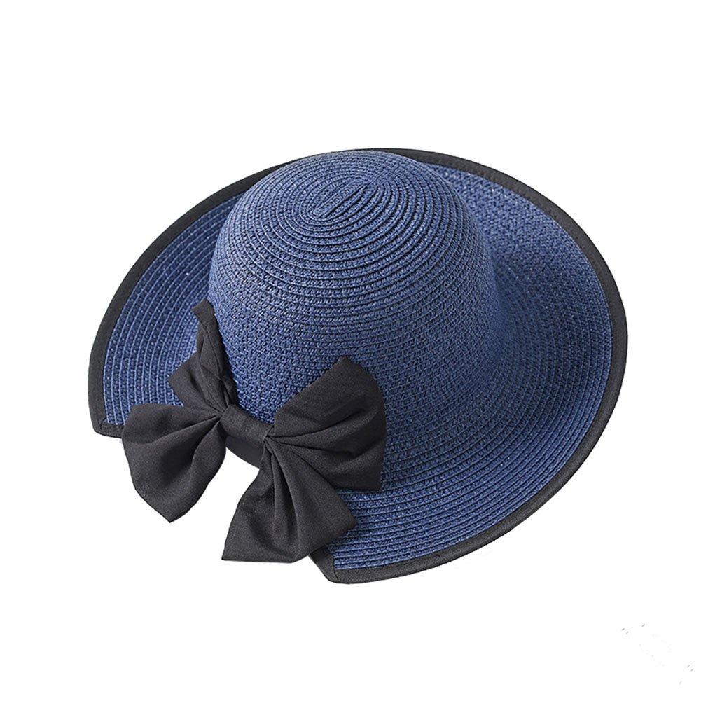 DCRYWRX Women Sun Beach Hats Foldable Roll Up Sun Hat Beach Cap Big Bowknot Straw Hat Accent Straw Bucket Sun Hat