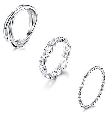 Amazon.com: YADOCA - 3 anillos de acero inoxidable apilables ...