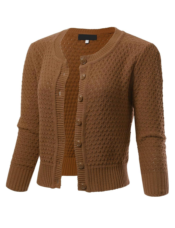 Camel ARC Studio Womens Button Down 3 4 Sleeve Cropped Knit Cardigan Crochet Sweater (SXL)