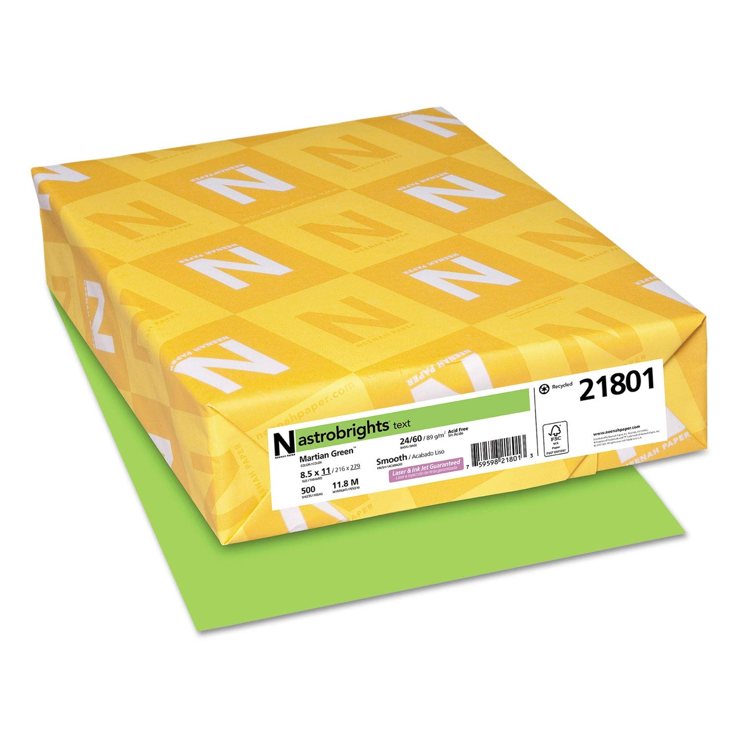 Astrobrights Color Paper, 24lb, 8 1/2 x 11, Martian Green, 500 Sheets - 21801 (Pack of 2)