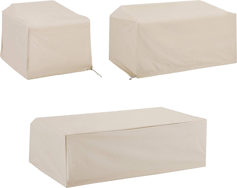 Crosley Furniture MO75003-TA Heavy-Gauge Reinforced Vinyl 3-Piece Furniture Cover Set (Loveseat, Chair, Coffee Table), Tan
