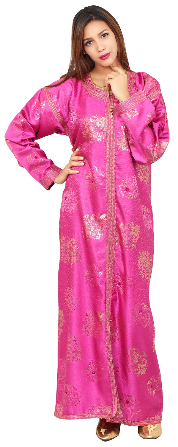 Moroccan Fancy Caftan Women Handmade Embroidery SMALL to LARGE Complimentary Belt Magenta