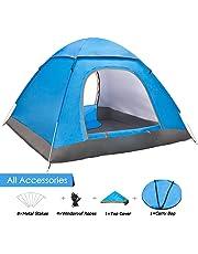 ANSTEN Tenda da Campeggio per 3-4 Persone, Tenda Pieghevole Impermeabile a Due Porte con Borsa per Il Trasporto Facile da Montare, Tende per Zaino in Spalla per Viaggi di Coppia, Campeggio