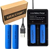 2本18650 電池 3.7V 3000mAh フラットヘッド充電池 USB電池充電器 戦術懐中電灯 ヘッドライト用電池