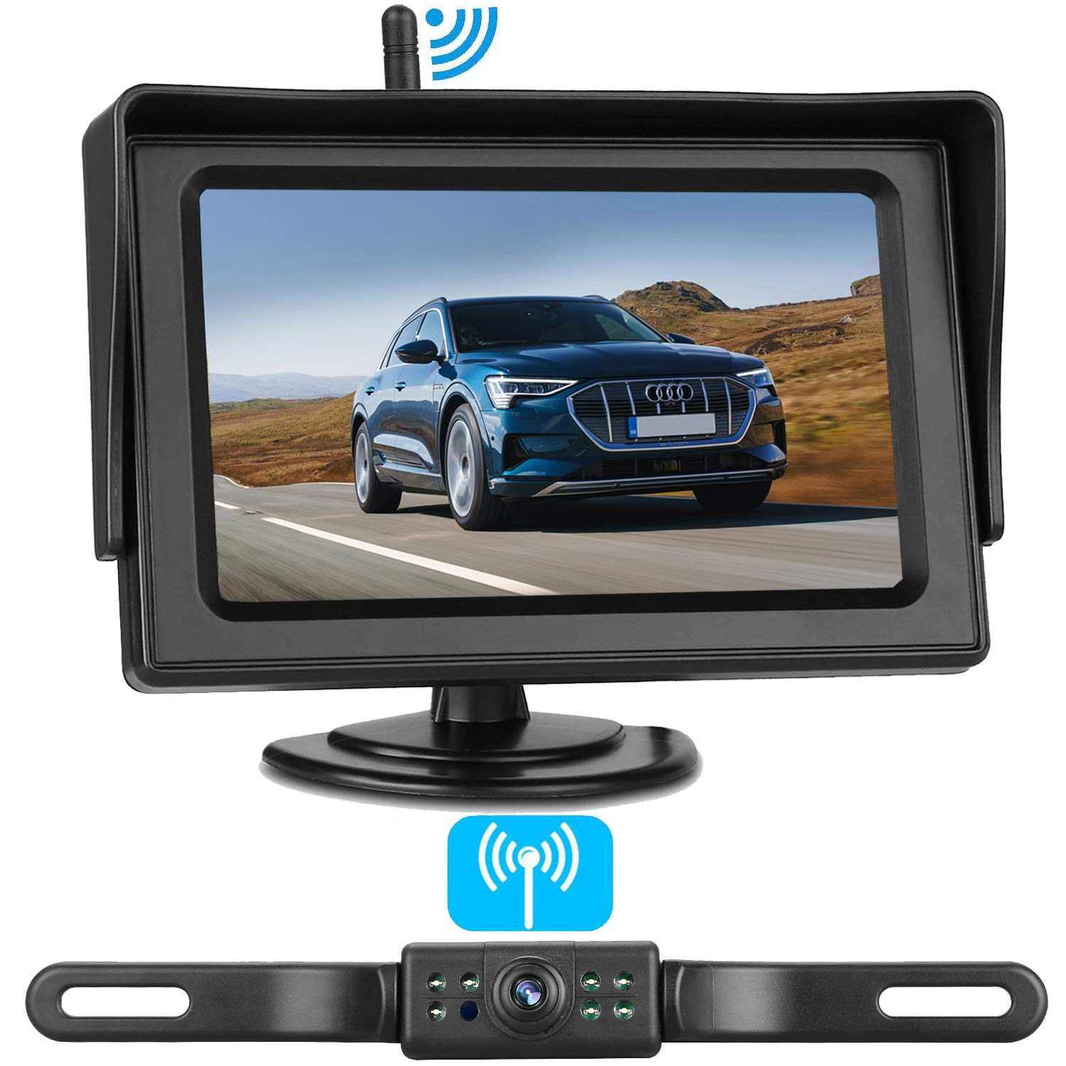 Emmako Backup Camera Wireless and 4.3'' Monitor System For Cars/SUVs/Mini Vans HD Color Night Vision IP68 Waterproof Rear/Front View Camera Guide Lines On/Off Reversing Use by Emmako