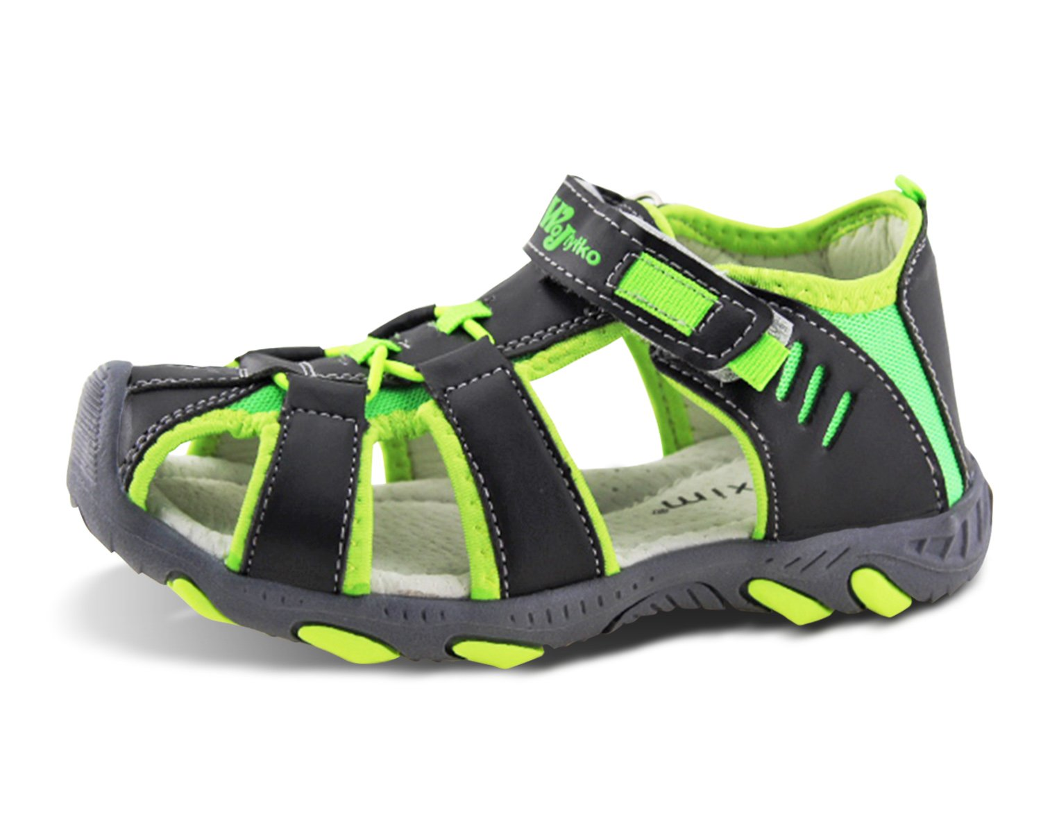 Jabasic Kids Closed-Toe Outdoor Strap Adventure Sporty Sandals (12.5 M US Little Kid, Green-2)