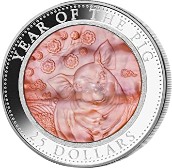 Pig Mother Of Pearl Lunar Year Series 5 Oz Silver Coin 25 Cook