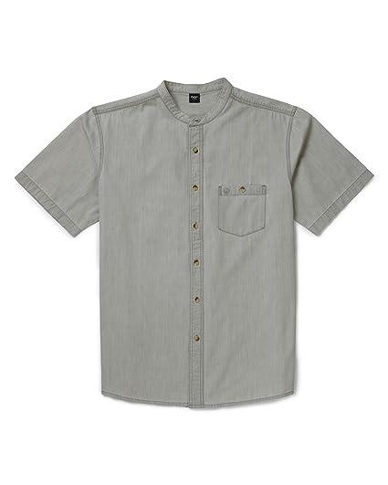1428cec7b98bcc Cotton Traders Womens Ladies Mens Short Sleeve Denim Grandad Collar Shirt