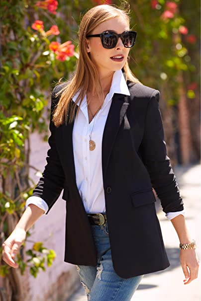 Women's Wrinkle-Resistant Classic One-Button Solid Color Boyfriend Knit Blazer