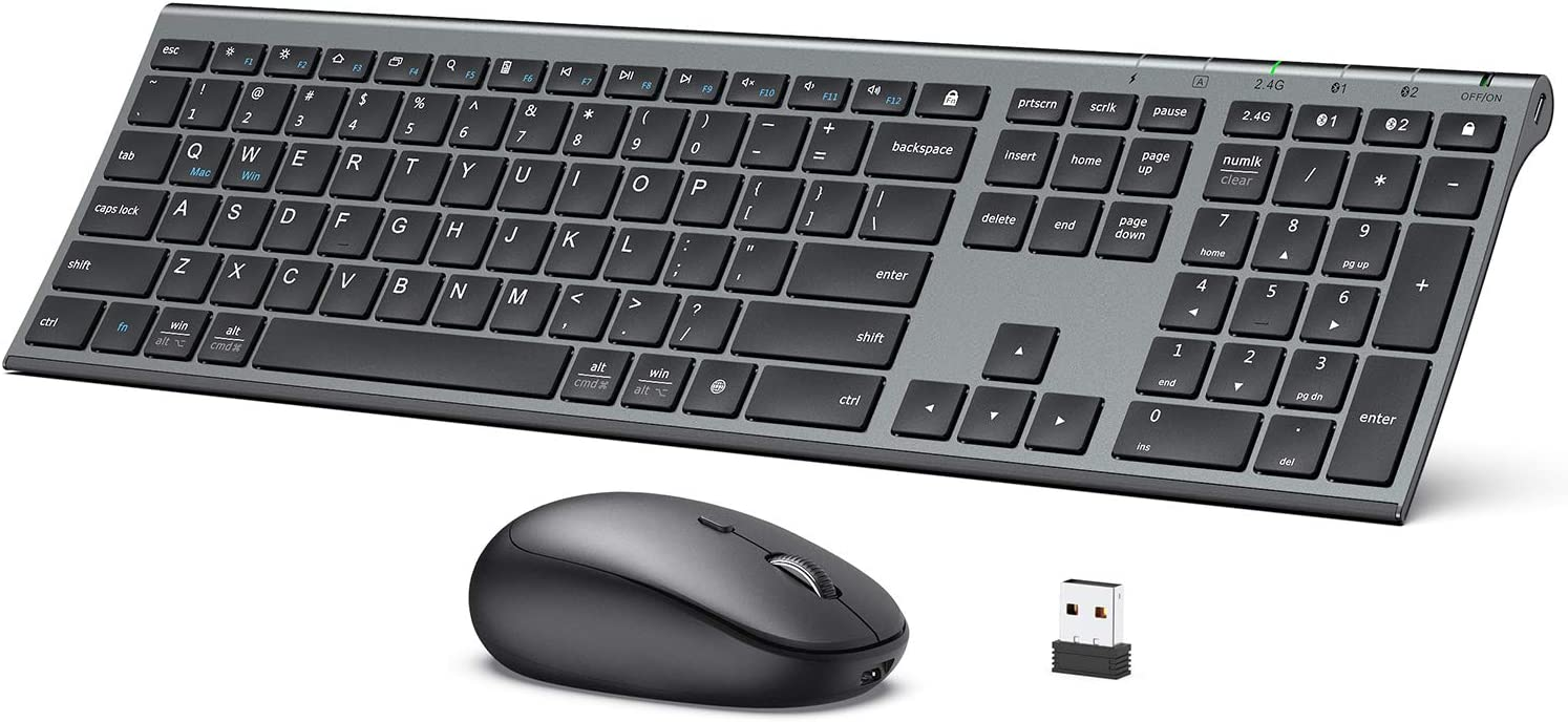 iClever DK03 Bluetooth Keyboard and Mouse, Rechargeable Dual-Mode (Bluetooth 4.2 + 2.4G) Wireless Keyboard and Mouse Cambo, Ultra-Slim Multi-Device Keyboard for Mac, iPad, Apple, Android, Windows