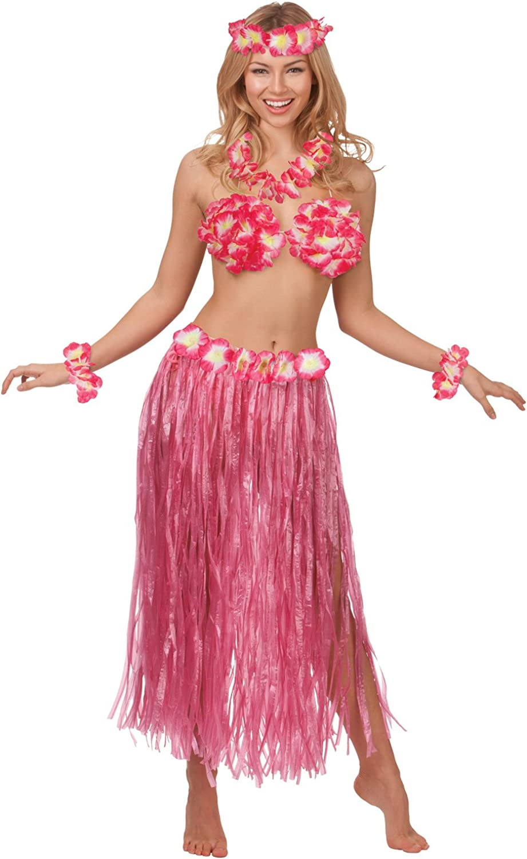 PINK COLOURED LEI 2 PIECE FANCY DRESS ACCESSORY SET 40 CM SKIRT HAWAII HULA LUAU COSTUME BEACH PARTY OUTFIT HAWAIIAN SKIRT