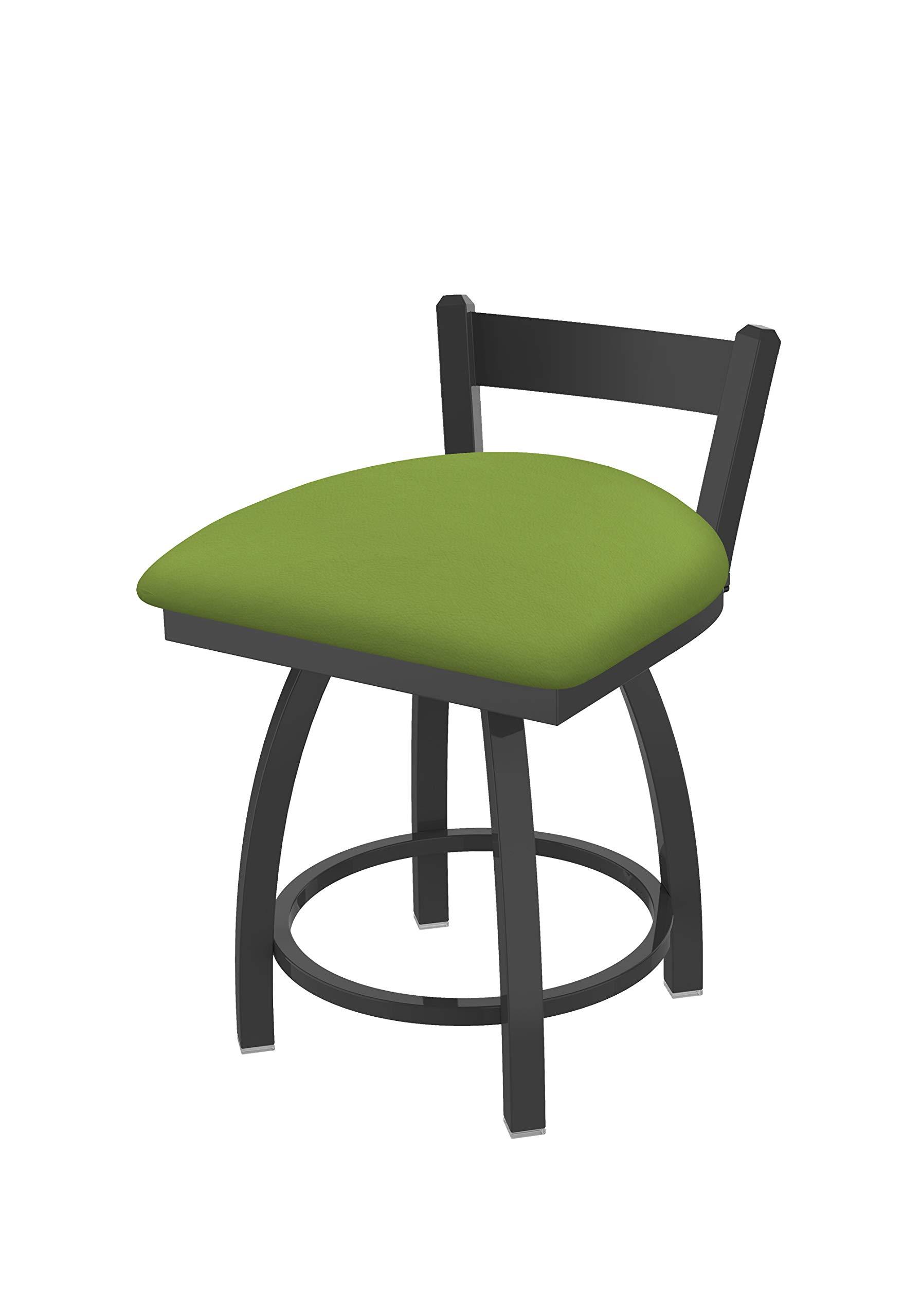 Holland Bar Stool Co. 82118PW009 821 Catalina 18'' Low Back Swivel Vanity Pewter Finish and Canter Kiwi Green Seat Bar Stool