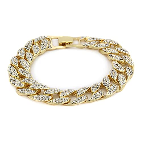 aaf316ce2ee Bling Bling NY Fully Iced Out Miami Cuban Link CZ Choker Necklace Bracelet  Gold Finish Lab Created Diamonds 15MM (8.5-30 inches) (Bracelet 8.5  )