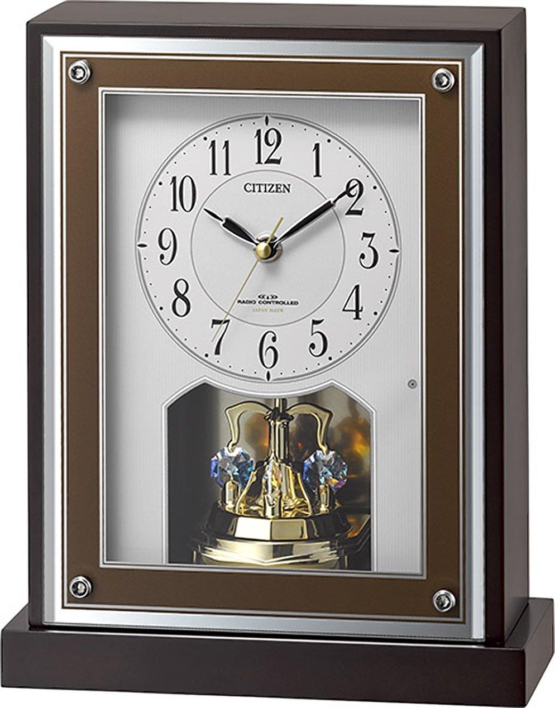 シチズン 置き時計 電波 アナログ R413 【 日本製 】 クリスタル 回転飾り 連続秒針 木 茶 CITIZEN 8RY413-006 B01M8JGEV2