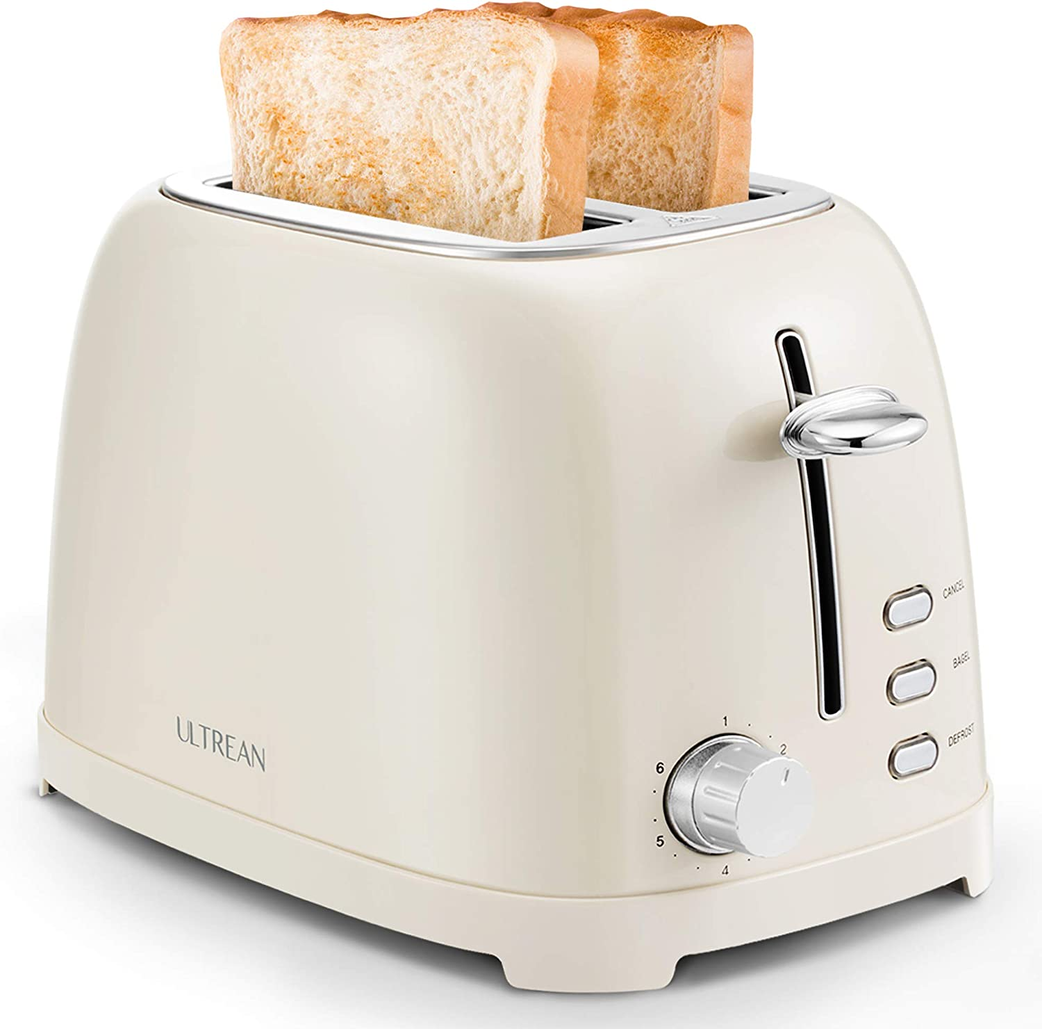 Ultrean Toaster 2 Slice with Extra-Wide Slot, Stainless Steel Toaster with Removable Crumb Tray, Small Toaster with 6 Browning Settings, Cancel, Bagel, Deforest Functions, 825 W, Cream