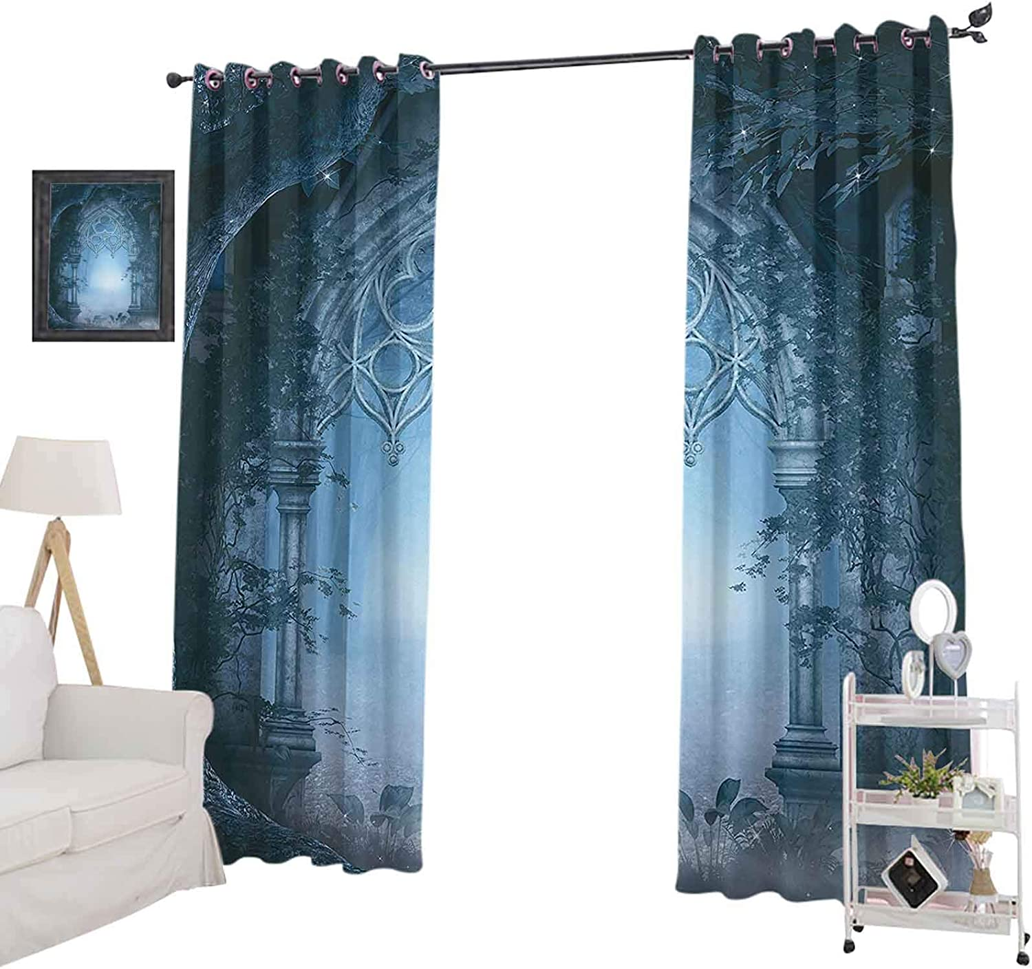 """YUAZHOQI Window Curtain Drape Passage Doorway Through Enchanted Foggy Magical Palace Garden at Night View Blackout Curtains for Kids Bedroom 52"""" x 95"""" Navy Blue and Gray"""