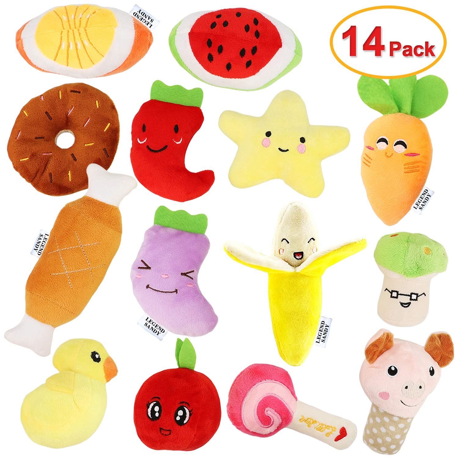 14 Pack Dog Squeaky Toys Cute Stuffed Plush Fruits Snacks and Vegetables Dog Toys for Puppy Small Medium Dog Pets by LEGEND SANDY