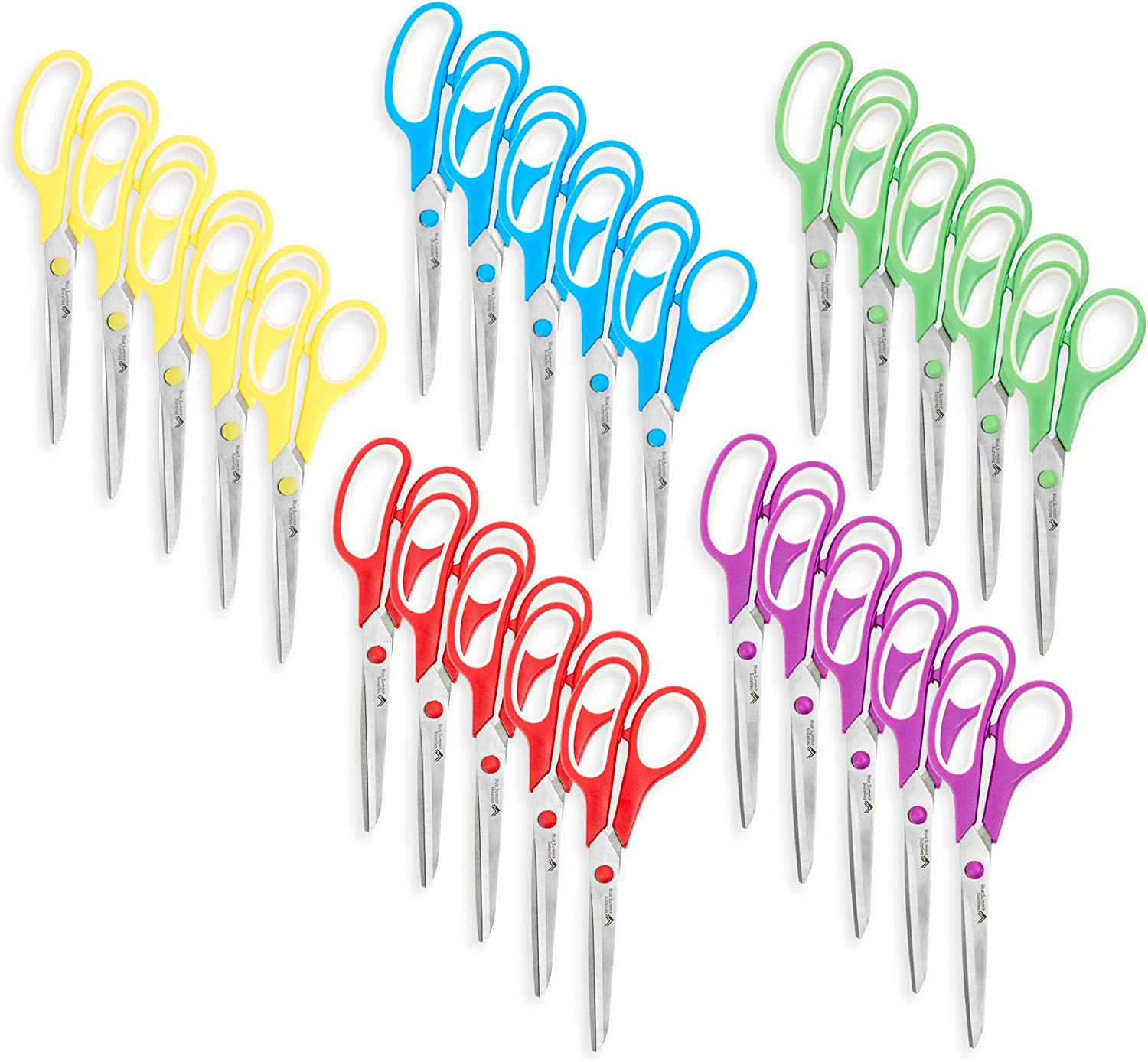 Blue Summit Supplies Multi Purpose Scissors, 8 Inch Household Shears with Comfort Grip, Sharp Scissors for Craft or Office, Assorted Colors, 30 Pack