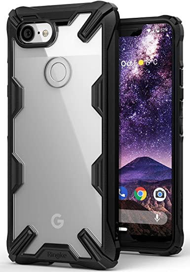 big sale 4a07c 9af36 Ringke Fusion-X Designed for Google Pixel 3 XL Case Easy Unlock Squeeze  Compatible Transparent Hard PC Back TPU Bumper Solid Protection Cover for  ...