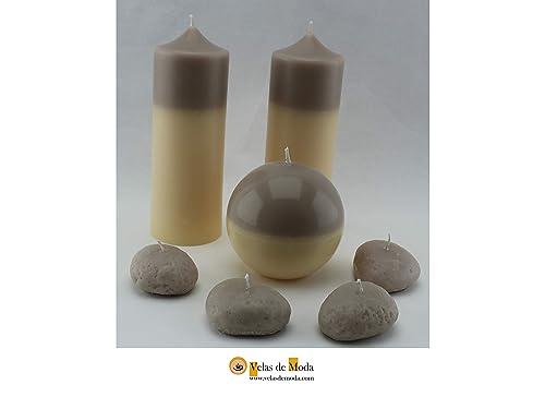 VELAS. MEDITACIÓN.Pack de siete velas,dos velones, una vela con forma de esfera y 4 velas con forma de piedras.: Amazon.es: Handmade