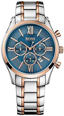 add4d0b42 Hugo Boss Ambassador Chronograph Two-Tone Steel & Rose Gold Mens Watch Blue  Dial Date