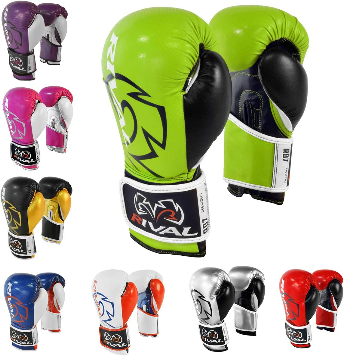 RIVAL Boxing RB7 Fitness Lime//Black Hook and Loop Bag Gloves 16 oz