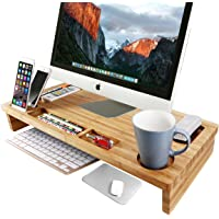 OULII Bambus Monitorständer 65 * 31 * 9cm Bildschirmständer für den Laptop mit Stauraum als Desktop Organizer