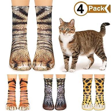 8f8243717e4ac VAMEI 4 Paires 3D Imprimé Animal Paw Chaussettes pour Femmes Homme Fille  Garçon Décontracté Mignon Déguisement
