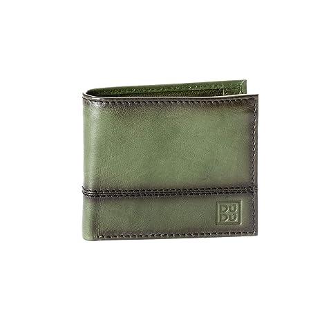 a2063a5389 Portafoglio uomo piccolo in vera pelle con portamonete e tasca interna con  zip DUDU Verde