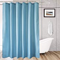 AooHome Stall Size 48x72 inch Shower Liner, Fabric Solid Color Bathroom Curtain with Hooks, Weighted Hem, Waterproof, Blue