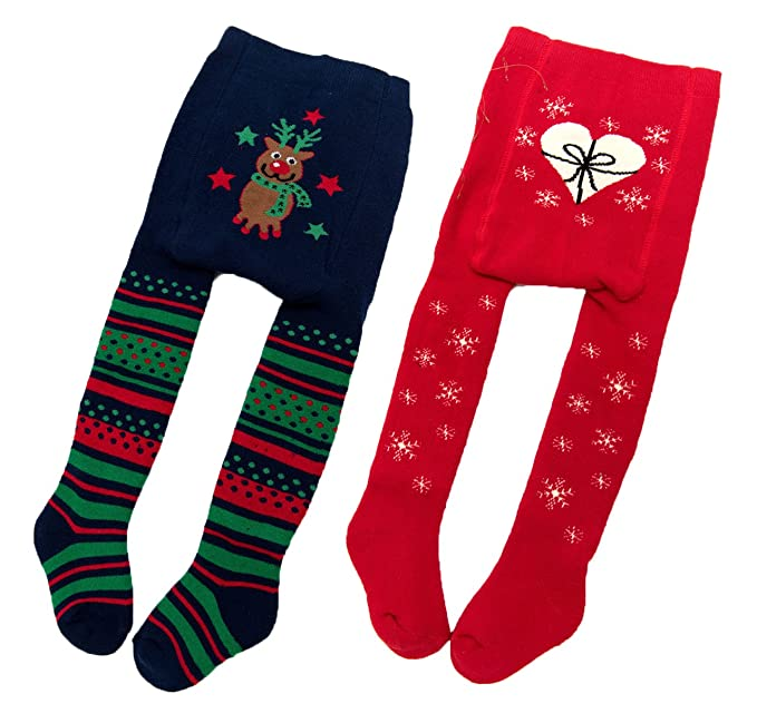 moggei 2 pack baby kids girls christmas thick tights leggings stocking pants warm cute socks