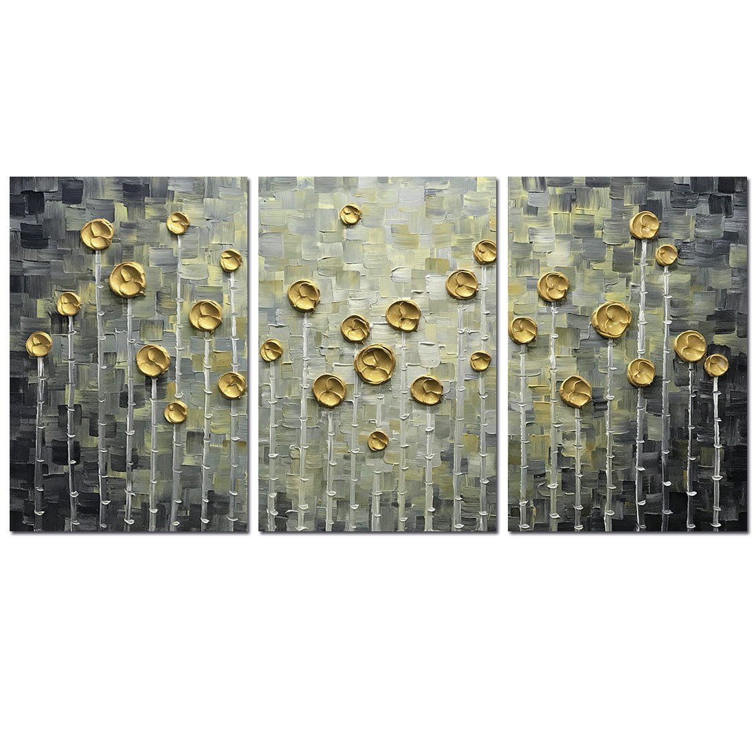 Asdam Art--3panels Large Art Hand Painted 3D Gold Rose Oil Painting On Canvas Black and Gold Floral Wall Art For Living Room Bedroom Hallway Home Office Wall DWecor(20x30inchx3)