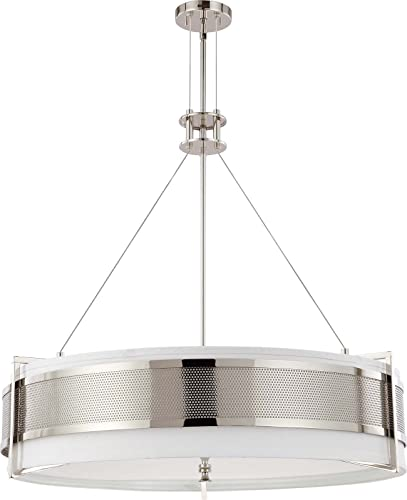Nuvo Lighting 60 4334 Six Light Diesel Round Pendant with Slate Gray Fabric Shade Frosted Diffuser, Polished Nickel